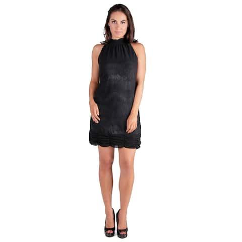 24seven Comfort Apparel Ruched Halter Neckline Little Black Dress