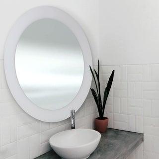 Abbyson Oasis White Round Ceramic Wall Mirror