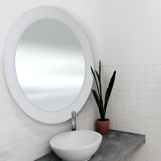 Abbyson Oasis White Round Ceramic Wall Mirror