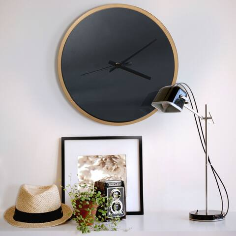 Abbyson Roblar Black and Gold Wall Clock