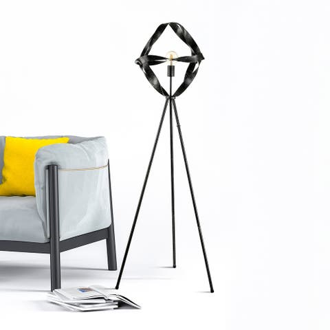 Carbon Loft Smead Aged Silver Metal Twisted Ribbon Floor Lamp