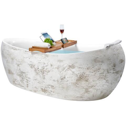 Freestanding Bathtub - 69 Inch Rock Pattern Acrylic Bathtub - Stand Alone Tub - Luxurious SPA Soaking