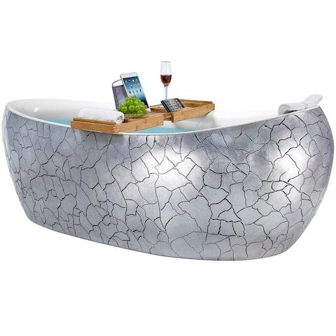 Freestanding Bathtub - 69 Inch Cement Grey Acrylic Bathtub - Stand Alone Tub - Luxurious SPA Soaking
