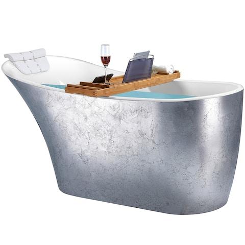 Freestanding Bathtub - 64 Inch Glossy silver Acrylic Bathtub - Stand Alone Tub - Luxurious SPA Soaking