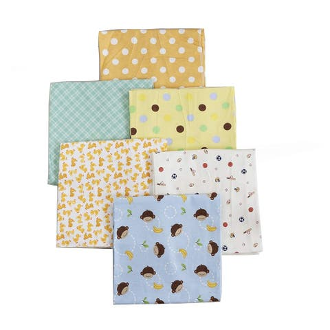 Cozy Line 6-Pack Unisex Baby Cotton Flannel Receiving Blankets