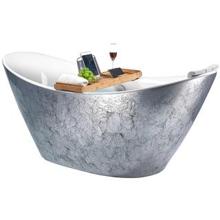 Freestanding Bathtub 67 Inch Glossy Silver Acrylic Bathtub Stand Alone Tub Luxurious Spa Soaking Overstock 29109200