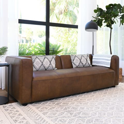 Abbyson Hamilton Top Grain Leather Dark Camel Sofa