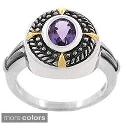 Glitzy Rocks Sterling Silver Rope Design Oxidized Gemstone Ring