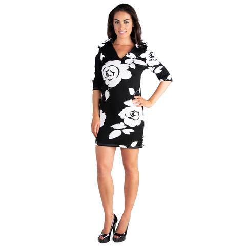 24seven Comfort Apparel Classy Black and White Rose Print Mini Dress