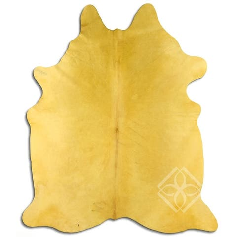 Cowhide Area Rugs DYED HAIR ON COWHIDE DYED YELLOW 3 - 5 M GRADE B size ( 32 - 45 sqft ) - Big