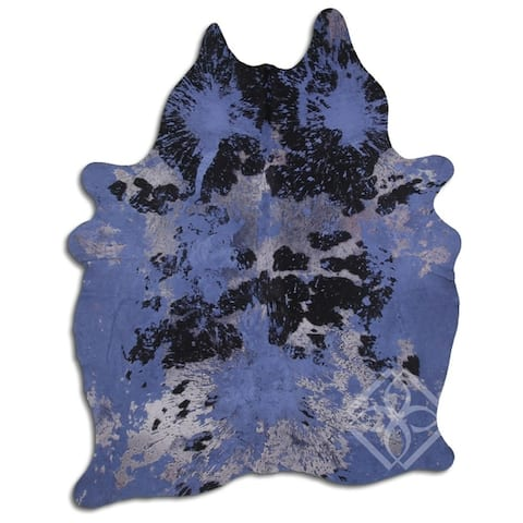 Cowhide Area Rugs ACID WASHED HAIR ON COWHI DISTRESSED NAVY BLUE 3 - 5 M GRADE A size ( 32 - 45 sqft ) - Big