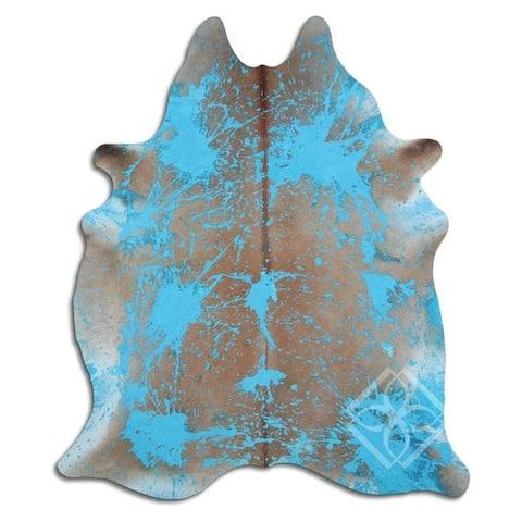 Cowhide Area Rugs ACID WASHED HAIR ON COWHI DISTRESSED ACQUA BLUE 3 - 5 M GRADE A size ( 32 - 45 sqft ) - Big