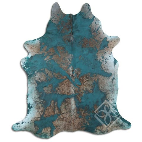 Cowhide Area Rugs ACID WASHED HAIR ON COWHI DISTRESSED EMERALD GREEN 3 - 5 M GRADE A size ( 32 - 45 sqft ) - Big