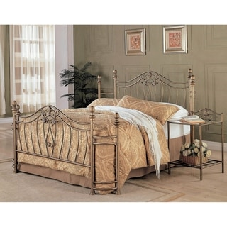 Halley Traditional Antique Brushed Gold Metal Arched Bed