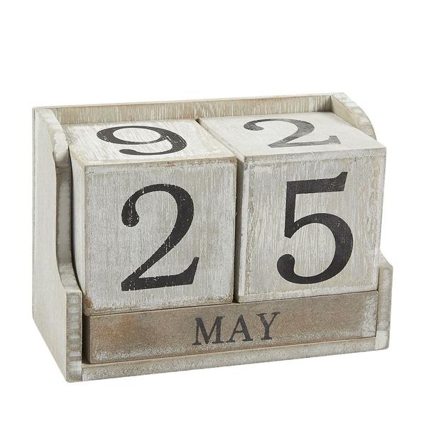 """Wooden Calendar Block Wood Desk Calendar Home Office Decor, 5.3"""" x 3.7"""" x 2.6"""""""