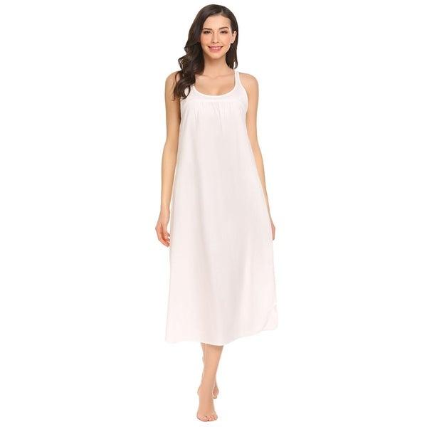 Women/'s Soft /& Comfortable Sleeveless V-Neck A-Line Cotton Sleep Dress Nightgown
