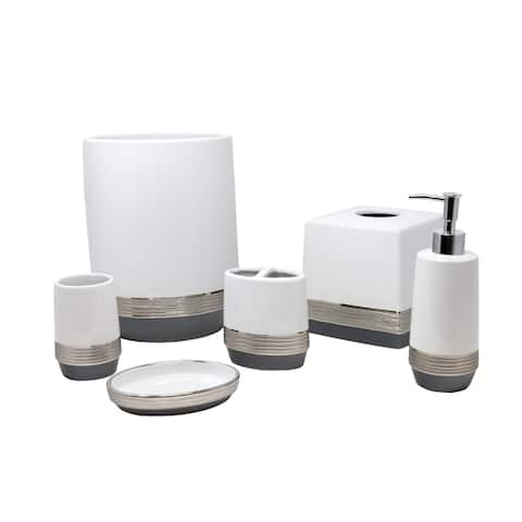 Croscill Ayla White and Gray Bath Accessory Collection