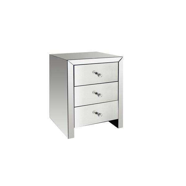 Masor Contemporary Mirrored 3 Drawer Nightstand