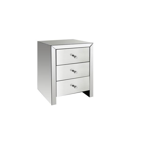 Masor Contemporary Mirrored 3 Drawer Nightstand (Set Of 2)