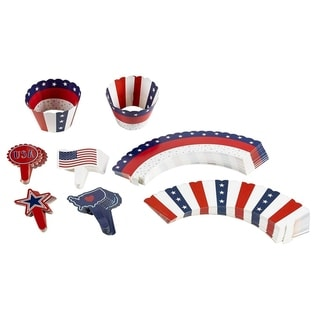 102-Piece Patriotic Cupcake Toppers and Liners Cupcake Wrappers Baking Supplies
