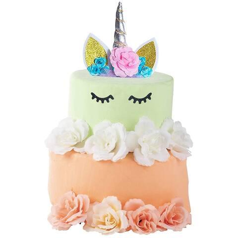 Unicorn Cake Topper Kit Set with Eyelashes Straw Birthday Baby Shower Party