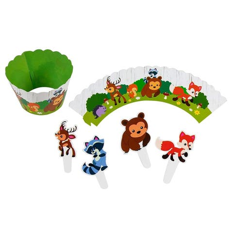 Animal Cupcake Toppers and Liners - 102-Piece Woodland Safari Cupcake Wrappers