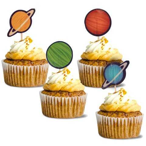 Space Cupcake Toppers - 200-Pack Cupcake Decoration, Outer Space Party Supplies