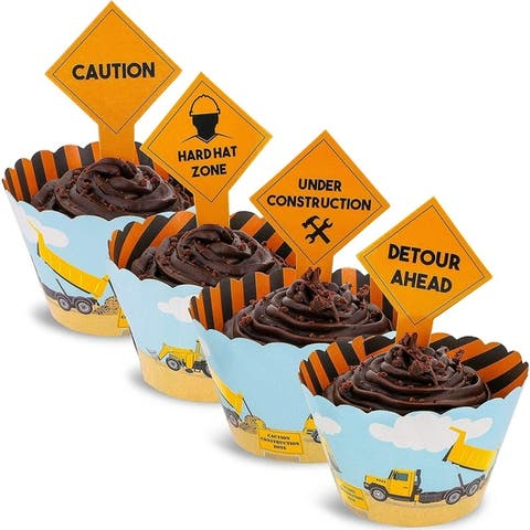 Juvale 100-Piece Construction Zone Cupcake Toppers and Wrapper Liners for Kids