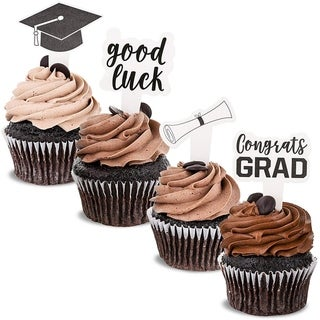 Link to Blue Panda 100-Pack Paper Graduation Cupcake Party Topper Picks, 4 Designs Similar Items in Bakeware