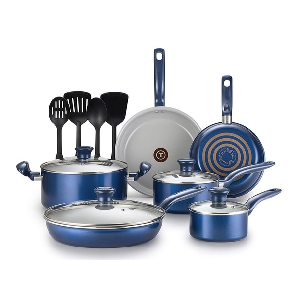 T-Fal 14 Pc. Initiatives Ceramic Toxic Free Cookware Set in Blue. Opens flyout.