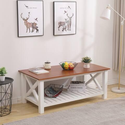 Harper & Bright Designs Farmhouse Coffee Table with Shelf