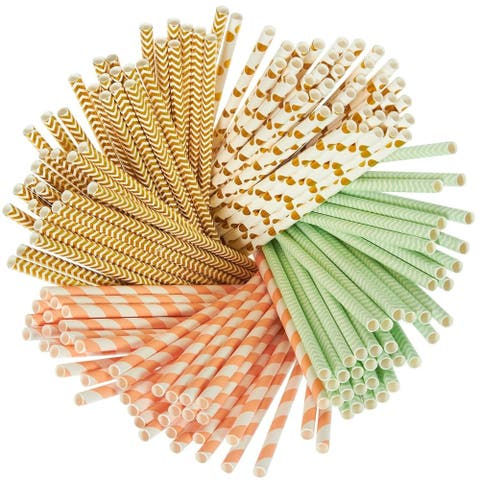 160 Paper Straws Biodegradable, Metallic Gold, Polka Dot, Stripe, Chevron, Green