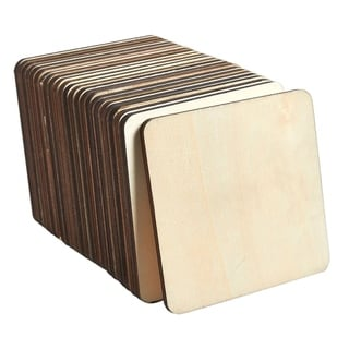 Wood Coasters, 24-Pack Square Unfinished Wooden Coasters with Holder for Drinks