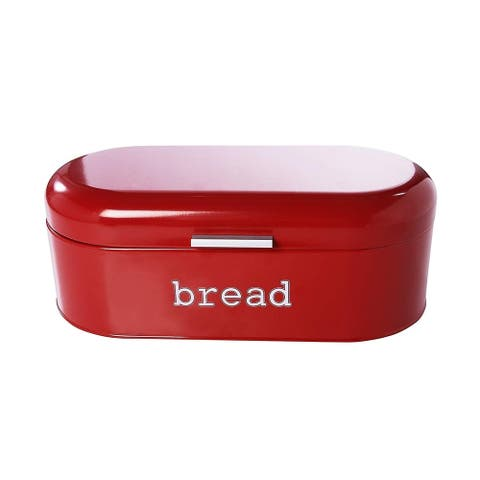 Large Metal Bread Box for Kitchen Counter, Bread Food Storage Bin with Lid, Red
