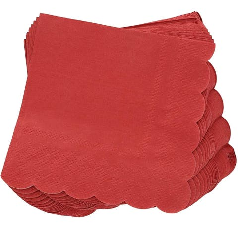 "Juvale 100-Pack Bulk 2-Ply Scalloped Paper Cocktail Napkins, Dark Red, 5"" x 5"""