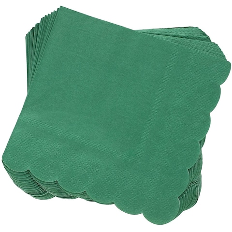 Juvale 100-Pack Bulk 2-Ply Scalloped Paper Cocktail Napkins, Forest Green