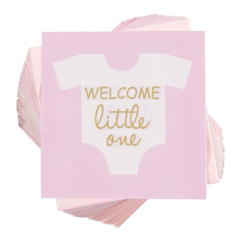 "100 Girl Baby Shower Disposable Cocktail Napkins Welcome Little One 5""x5"" Folded"
