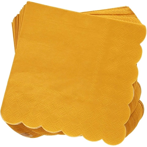 100 Pack Mustard Yellow Scalloped Cocktail Napkins 5 x 5 Folded, 3 Ply