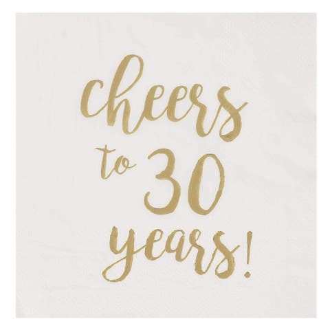Cocktail Napkins - 50-Pack Cheers to 30 Years Gold Foil Disposable Paper Napkins