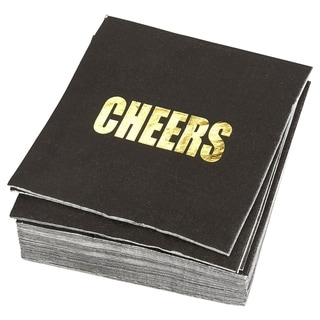 50 Pack Cocktail Napkins - Gold Foil CHEERS Disposable Paper Party Napkins