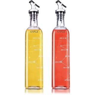 Set of 2 Oil Vinegar Dispenser Pourer Cruets Glass Bottles 16 ounce (475 ml)