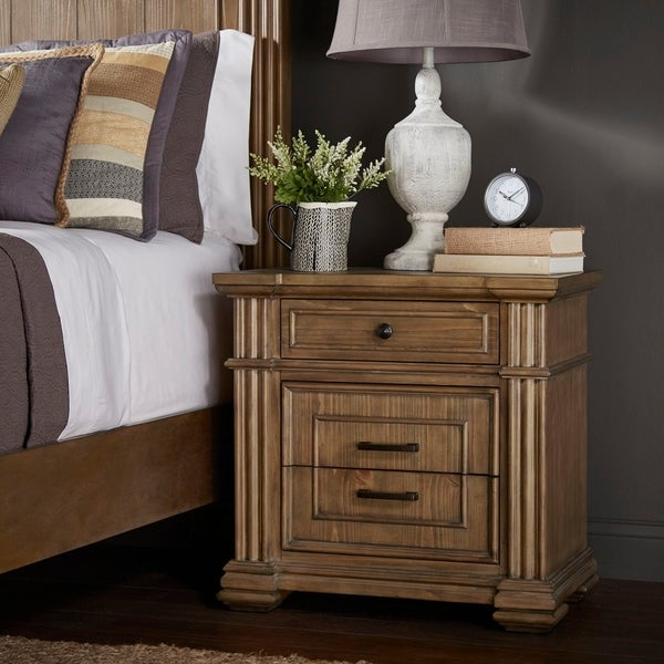 Mauer Light Distressed Natural Finish Nightstand by iNSPIRE Q Artisan