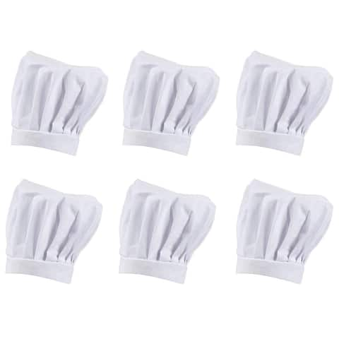 6-Pack Professional Chef Baker Hat Polyester Adjustable Cooking Cap for Adults