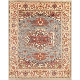 """Oriental Heriz Area Rug Hand Knotted Indian Wool Traditional Capret - 9'11"""" x 8'0"""""""