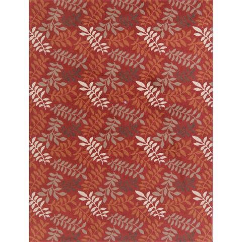 "Turkish Polyester & Jute Floral Botanical Transitional Area Rug - 10'6"" x 7'10"""