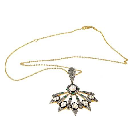 18k Gold 925 Sterling Silver Diamond Emerald Choker Necklace Jewelry With Jewelry Box