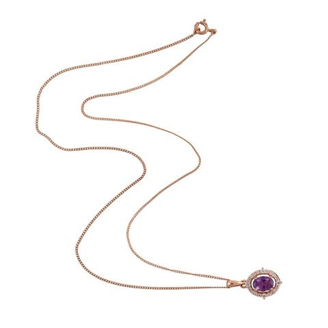 925 Sterling Silver Amethyst Topaz Princess Necklace Handmade Jewelry With Free Jewelry Box