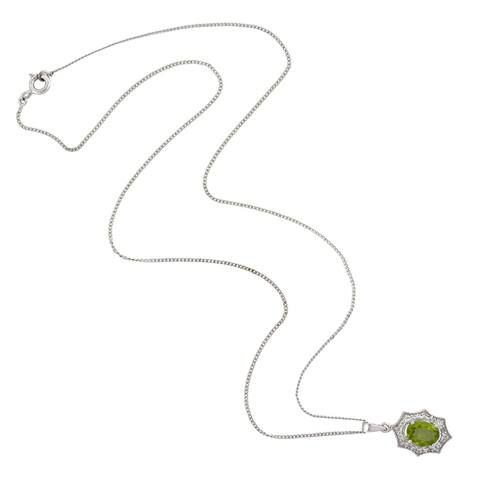 "925 Sterling Silver Green Peridot Topaz Princess Necklace Jewelry With Free Jewelry Box - 7'6"" x 9'6"""