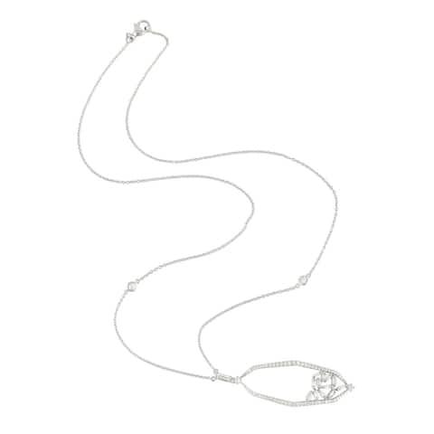 "18k White Gold Baguette Diamond Princess Necklace Jewelry - 7'6"" x 9'6"""