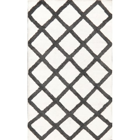 Transitional Trellis Kilim Carpet Hand Knotted Indian Geometric Rug - 5' 3'' X 3' 2''